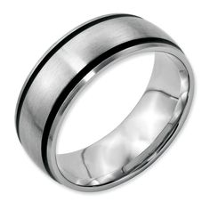 Stainless Steel Black Rubber Flat 8mm Brushed Band Size 6.5 Length Width 8