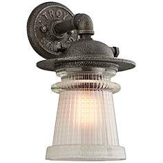 "Pearl Street 13 3/4""H Charred Zinc Outdoor Wall Light"