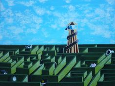 Look Out Helter Skelter - acrylic on canvas by Catherine Pang-Murray Brick Lane, Dumpling, Fair Grounds, Illustrations, Watercolor, Canvas, Gallery, Fun, Travel