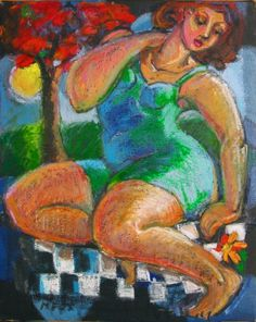 Moon Flower, figurative oil painting, figuration, women in art, figure painters, contemporary figurative painter, painting by artist Marie Fox