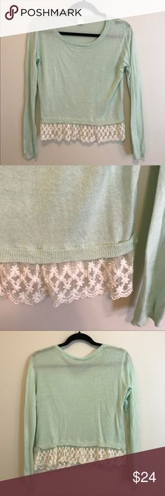 Nordstrom Wild Pearl Lace Hem Pullover Sweater Nordstrom Wild Pearl Lace Hem Pullover Sweater Green Placid Teal Sz S Juniors Nordstrom Sweaters