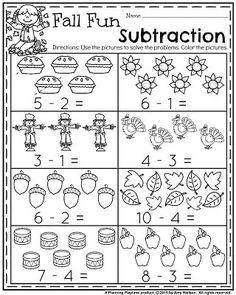 Fall Kindergarten Worksheets for November - Fall Fun Subtraction.