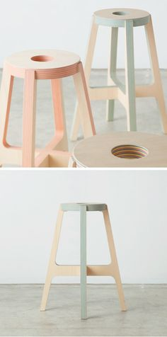 Furniture made out of layers of wood and colourful paper by Drill