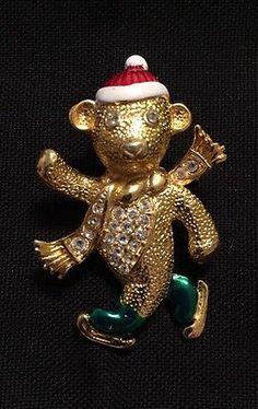 Vintage Estate Christmas Gold Tone Bear Skating Rhinestone Pin.