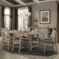 Corliss Landing Wood Rectangular Trestle Dining Table in Weathered Driftwood Grey by Cresent Fine Furniture