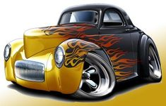 1941 Willys Hot Rod Muscle Car-toon Art Print NEW in Clothing, Shoes & Accessories, Men's Clothing, T-Shirts Rat Fink, Car Art, Cool Car Drawings, Volkswagen New Beetle, Pt Cruiser, Truck Art, Garage Art, Ford Classic Cars, Weird Cars