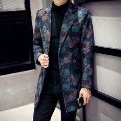 Mens floral trench coat lapel two buttons camouflage slim fit overcoat U0305 HOT