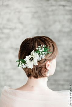 Buy Floral bridal comb, white flower wedding accesories, woodland bridal - white headpiece