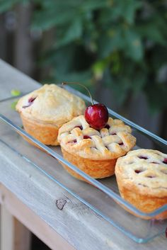 Mini Cherry pies baked in cupcake pans by Adventuress Heart,