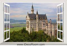 3D Germany Neuschwanstein Castle Bayern window wall sticker art decal IDCCH-LS-003824