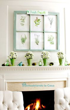Spring mantel with botanical prints -old window