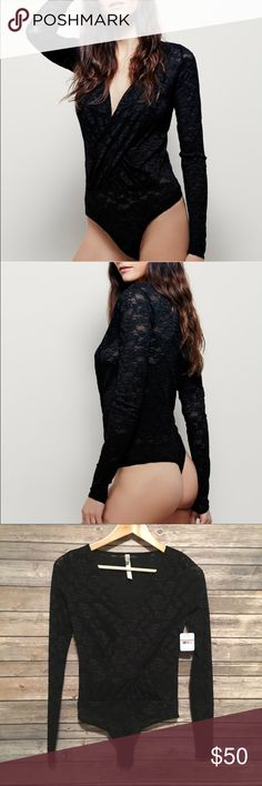 ✨ FLASH SALE ✨ Free People Lust for Lace Bodysuit Sexy and stunning lace bodysuit by Free People. Brand new with tags! The bottom has 3 snap buttons, as shown in the last photo. So pretty! Feel free to ask any questions! 💗 Size XS. ** Also available in size Small and in wine red! Free People Tops