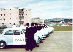 Merthyr Tydfil Borough Police U.B.P. (Unit Beat Policing) or Panda cars lined up for inspection in 1968.