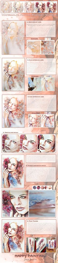 How to Draw eyes, Watercolor eyes in flesh tone tutorial with thanks to jane-beata on deviantART, Study Resources for Art Students, CAPI ::: Create Art Portfolio Ideas at milliande.com, Art School Portfolio Work, How to Draw Faces