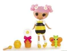 Blossom's a Busy Bee Mini Doll (S6 #4) Sewn From A Pair of Gardener's Gloves Sewn On April 22nd (Earth Day) Pet Butterfly