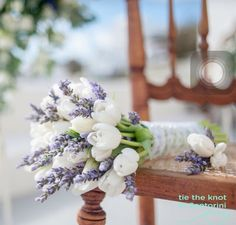 Wedding Bouquet Arranged With: White Tulips + Fresh Lavender