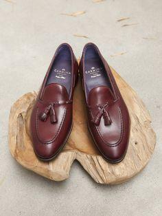 Carmina Shoemaker Braided Tassel Loafer in Burgundy