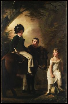 The Drummond Children. George Drummond (1802–1851), who is seated astride his pony, is accompanied by two children who have been traditionally identified as his sister Margaret and his foster brother. The painting dates from about 1808–09.