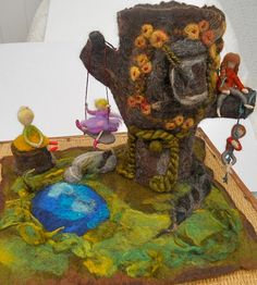 A Giant Hollow Tree House Fairy House Waldorf Playscape Play mat with Mother and Three Children Needle Felted Playtime