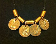 LOVE Etched Penny Necklace by ampandolph on Etsy