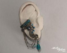 TRITEIA  OOAK wire wrapped ear cuff  bronze green by bodaszilvia, $20.50