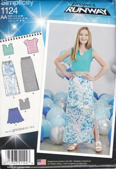 Simplicity 1124 Girls Sewing Pattern Project Runway Childs Skirt Top Regular and Plus Sizes 8-16 1/2 --- Simplicity+1124+Girls+Sewing+Pattern+Project+Runway+Childs+Skirt+Top+Regular+and+Plus+Sizes+8-16+1/2