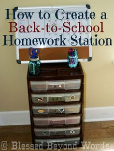 Back to School Homework Station - use plastic scrapbook boxes to hold all of kids' homework supplies in one place. would be good in the classroom too Homework Organization, Back To School Organization, Back To School Hacks, Going Back To School, Organization Ideas, Organizing School, Organizing Tips, Organising, First Day Of School