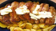POTREBNÉ PRÍSADY 750g bravč.stehna(alebo kuracie prsia), 4 vajcia, soľ, strúhanka, olej na vysmážanie Šťava: 200ml vody 1 pol.lyžica horčice, 1 pol. lyžica kečupu, 1 pol. lyžica masla, 1 pol lyžica oleja, 1 čaj.lyžička vegety a mletého čierneho korenia ( nie na kopec)  POSTUP PRÍPRAVY Mäso pokrájame na rezne, naklepeme,osolíme, obalíme v strúhanke a ešte raz naklepeme. Vajcia rozšľaháme, mierne Sausage, Food And Drink, Pork, Meat, Chicken, Kale Stir Fry, Pigs, Sausages, Pork Chops