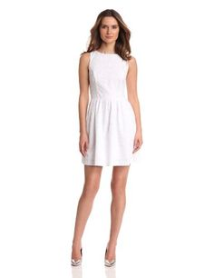 Kensie Women's Embroidered Eyelet Dress, White, Large - Click image twice for more info - See a larger selection of slevelees dress at http://azdresses.com/category/dress-categories/dresses-by-type/sleeveless-dress/ - womens, womens dresses, casual, wear to work evening dress, formal attire, fashion ideas, gift ideas « AZdresses.com
