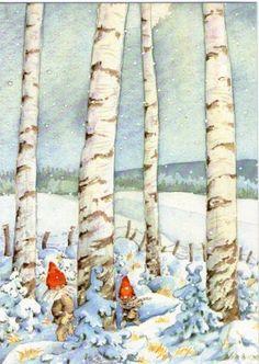 AK-MAJ-FAGERBERG-Weihnachten-ZWERGE-WICHTEL-im-WINTERWALD-Schweden
