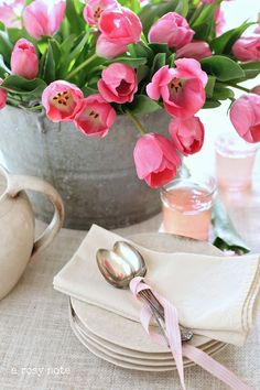galvanized bucket of tulips A Rosy Note: Decorating in the Dining Room