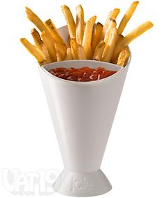 The Dipping Cone, hold your chips, fries, or veggies on one side and the dip on the other ingenius