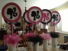 Barbie party centerpieces just blue instead of black