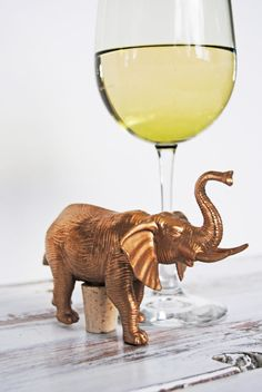 Gold Elephant Wine Bottle Stopper // Unique by aperfectmessvintage, $8.00