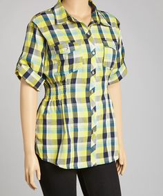 Take a look at this Yellow Plaid Button-Up - Plus by Apple Bottoms on #zulily today!