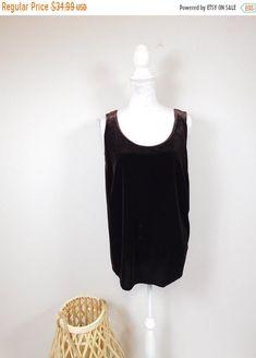50% OFF FALL SALE Vintage 90s Onyx Nite Dark Brown Velvet Stretchy Soft Scoop Neck Minimal Sleeveless Tank Top Shirt Blouse Sz 14 Large by WearingMeOutVtg on Etsy