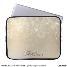 Snowflakes Gold Personalized Holiday Laptop Sleeve - elegant gifts gift ideas custom presents Glitter Gifts, Gold Gifts, Gold Glitter, Personalized Products, Customized Gifts, Personalized Gifts, Simple Gifts, Unique Gifts, Custom Laptop