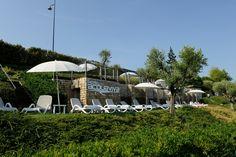The private beach of the Hotel Acquaviva, Desenzano del Garda.