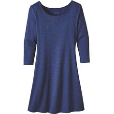 Patagonia Women's 3/4 Sleeve Seabrook Dress (5.785 RUB) ❤ liked on Polyvore featuring dresses, blue, harvest moon blue, 3/4 sleeve jersey dress, straight dress, over the knee dresses, blue jersey dress and patagonia dresses