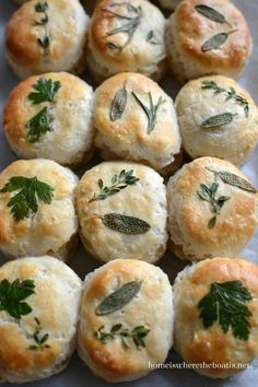Dress up your bread basket with herb-laminated biscuits. From frozen to fancy in 30 minutes! I saw this idea for beautiful herb-laminated biscuits to dress up your bread basket in the September iss… Frozen Biscuits, Tea Biscuits, Tapas, Biscuit Recipe, Dough Recipe, Cooking Light, Crackers, Bread Recipes, Baking Recipes