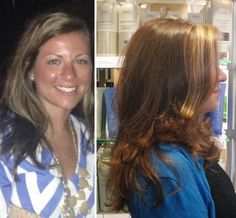 a beautiful transition to welcome fall - her before picture sent in to us shows her slightly more summery color... her after picture shows the warmth and rich fall/winter color using Aveda colors and lighteners!