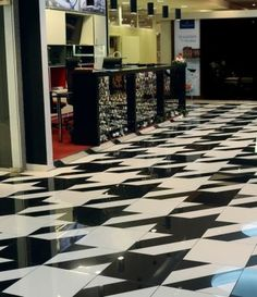 Houndstooth floor...totally doing this to my kitchen with maybe teal?...