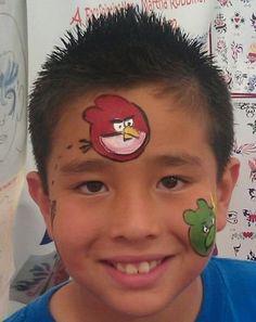 DIY Angry Bird Face Paint #DIY #AngryBirds #FacePainting ... Cheek arm art