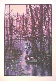 Ron Picou Quot Cypress Swamp Quot Serigraph Louisiana Artist