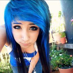 Blue scene hair. and PERFECT BANGS ERRG