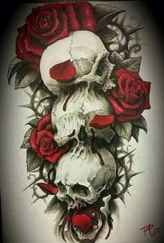 Tattoo design / idea, hear no evil, see no evil speak no evil, roses, rose pedals, red, black and white Brandon Haight, Paul Massison ( tattoo artist) , tattoo for men, tattoo for guys, skulls, black and gray, color, blood, thorns, detailed, realistic, unique, 1st issue tattoo studio, contrast, original idea, calf tattoo, one of a kind,