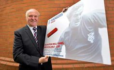 Colin Stein launches his wall panel at Ibrox.