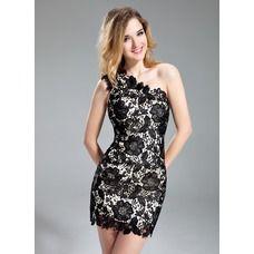 Sheath One-Shoulder Short/Mini Lace Cocktail Dress (016019148)