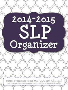 2014-2015 SLP Organizer from @Melanie McMahon Speech.  Discounted until summer!