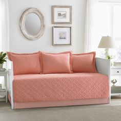 Add a beautiful blush to your room with this Laura Ashley Solid Coral daybed cover set. Daybed Cover Sets, Daybed Sets, Daybed Comforter, Pastel Red, Coral Pink, Coral Color, Blush Pink, Trellis Pattern, Coastal Cottage